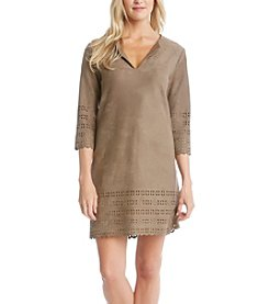 Karen Kane® Laser Cut Faux Suede Dress