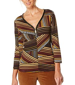 Rafaella® Petites' Diagonal Print Top With Zipper