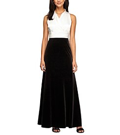 Alex Evenings® Halter Top Velvet Skirt Long Dress