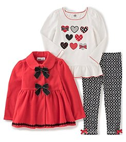 Kids Headquarters® Baby Girls' 3-Piece Hearts & Bows Jacket Set