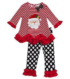 Rare Editions® Baby Girls' 2-Piece Santa Tunic and Leggings Set