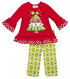 Rare Editions® Baby Girls' 2-Piece Christmas Tree Tunic And Leggings Set