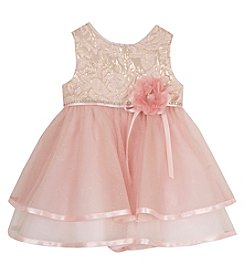 Rare Editions® Baby Girls' Metallic Lace Dress