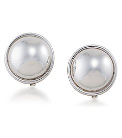 Lauren Ralph Lauren® Back To Basics Silvertone Button Clip On Earrings