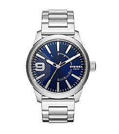Diesel Silvertone And Blue Rasp Watch