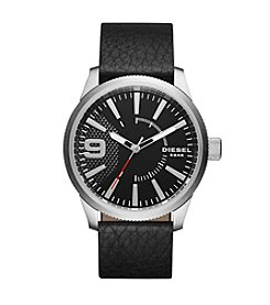 Diesel Silvertone And Black Leather Strap Rasp Watch