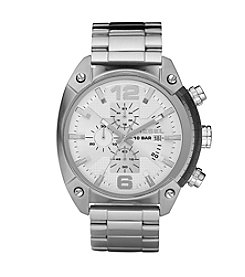 Diesel Silvertone And White Overflow Chronograph Watch