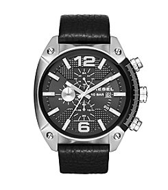 Diesel Silvertone And Black Overflow Chronograph Watch