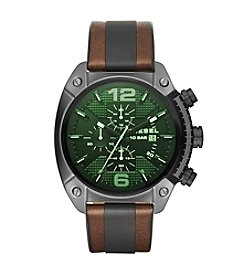 Diesel Gunmental And Brown Overflow Chronograph Watch