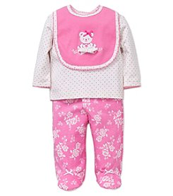 Little Me® Baby Girls' 3-Piece Bear Damask Bib Set