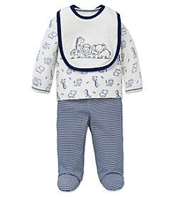 Little Me® Baby Boys 3-Piece Safari Toile Bib Set