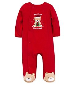 Little Me® Baby Boys My First Christmas Bear Footie