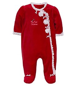 Little Me® Baby Girls' My First Christmas Rosette Footie