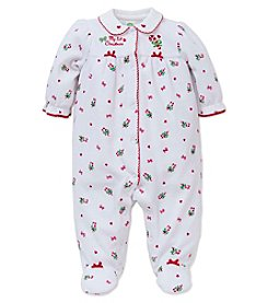 Little Me® Baby Girls' My First Christmas Candy Cane Footie