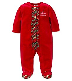 Little Me® Baby Girls' My First Christmas Plaid Footie