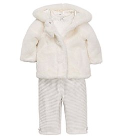 Little Me® Baby Girls' 3-Piece Fun Fur Jacket Set