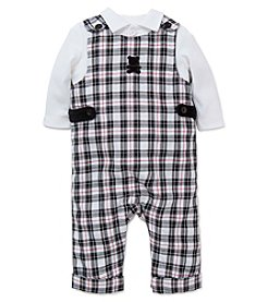 Little Me® Baby Boys' 2-Piece Plaid Bear Overalls Set