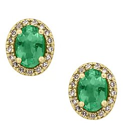 Effy® Brasilica Emerald And 0.13 Ct. T.W. Diamond Earrings In 14K Yellow Gold