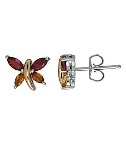 Garnet And Citrine Earrings In Sterling Silver