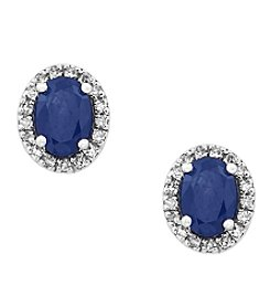 Effy® Royale Bleu Sapphire And 0.13 Ct. T.W. Diamond Earrings In 14K White Gold