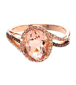 Effy® Blush Collection Morganite And 0.25 Ct. T.W. Diamond Ring In 14K Rose Gold