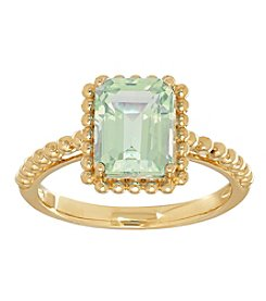 Green Amethyst Ring In 10K Yellow Gold