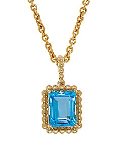Blue Topaz Pendant In 10K Yellow Gold