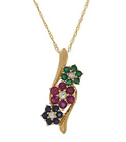 Multi Gem Flower Pendant In 10K Yellow Gold