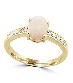 Effy® Aurora Collection Opal And 0.14 Ct. T.W. Diamond Ring In 14K Yellow Gold
