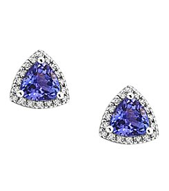 Effy® Tanzanite Royale Collection Tanzantie And 0.14 Ct. T.W. Diamond Earrings In 14K White Gold