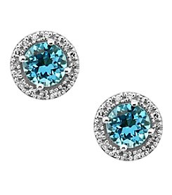 Effy® Ocean Bleu Collection Blue Topaz And 0.09 Ct. T.W. Diamond Earrings In 14K White Gold