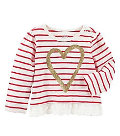 OshKosh B'Gosh® Baby Girls' Striped Heart Tee