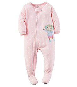 Carter's® Girls' One Piece Fleece Ice Skating Monkey Sleeper
