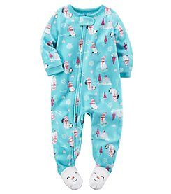 Carter's® Girls' One Piece All Over Snowmen Sleeper