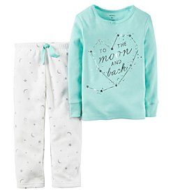 Carter's® Girls' 2-Piece Cotton & Fleece To The Moon Pajama Set
