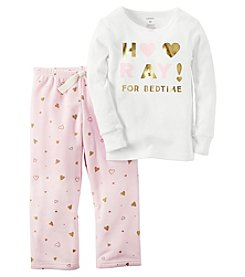 Carter's® Girls' 2-Piece Cotton & Fleece Hooray! Pajama Set