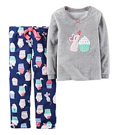 Carter's Girls' 2-Piece Fleece Mouse & Cupcakes Pajama Set