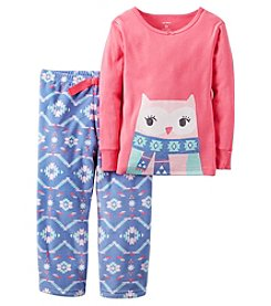 Carter's® Girls' 2-Piece Cotton & Fleece Owl Fair Isle Pajama Set