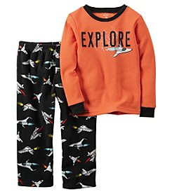Carter's® Boys' 2-Piece Cotton & Fleece Explore Space Pajama Set