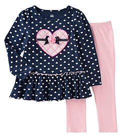 Kids Headquarters® Girls' 2T-6X 2-Piece Heart Tunic And Leggings Set