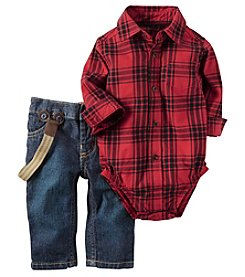 Carter's® Baby Boys 2-Piece Plaid Suspender Pants Set