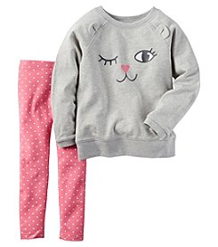 Carter's® Baby Girls' 2-Piece Kitty Face Top And Leggings Set