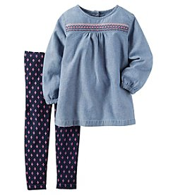Carter's® Baby Girls' 2-Piece Embroidered Top And Leggings Set