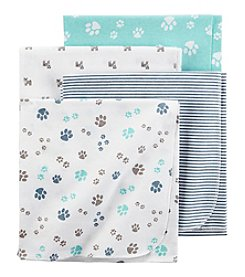 Carter's® Baby Boys' 4-Pack Paw Print Receiving Blankets