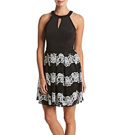 GUESS Lace Stripe Skirt Fit And Flare Dress