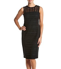Taylor Dresses Mesh Scuba Skirt Dress