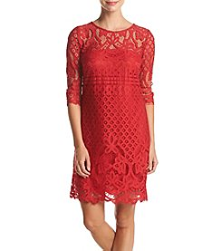 Taylor Dresses Lace Overlay Shift Dress