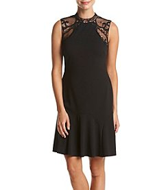 Ivanka Trump® Lace Crepe Fit And Flare Dress