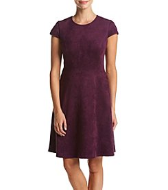 Ivanka Trump® Scuba Faux Suede Fit And Flare Dress