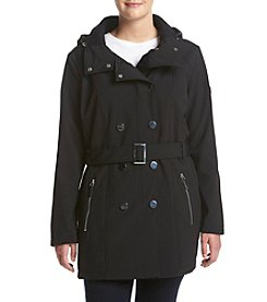 Calvin Klein Asymmetrical Plus Size Belted Trench Coat